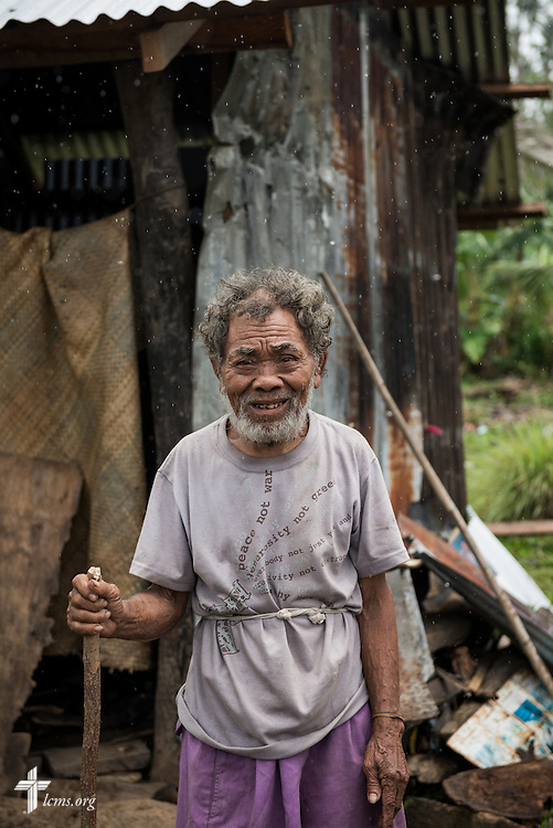 Portrait of 98 year-old Angel Tugonon in Mayahag, Leyte Province, Philippines, on Saturday, March 15, 2014. Angel lost his home during Typhoon Haiyan. Church members of Christ Lutheran Church found out about his plight and rebuilt his house. Shortly afterward, Tugonon started attending services at the church. LCMS Communications/Erik M. Lunsford