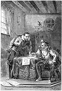 Johannes Kepler (1571-1630) German astronomer, left, with Tycho Brahe (1564-1601) Danish astronomer at work in Benatky observatory near Prague while in the employ of emperor Rudolf II