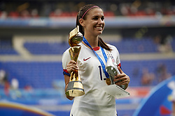 July 7, 2019 - Lyon, France - Alex Morgan (Orlando Pride) of United States celebrates whit  her trophys after winning the 2019 FIFA Women's World Cup France Final match between The United State of America and The Netherlands at Stade de Lyon on July 7, 2019 in Lyon, France. (Credit Image: © Jose Breton/NurPhoto via ZUMA Press)