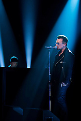 Repro Free: 24/10/2014<br /> U2&rsquo;s Bono and The Edge are pictured performing on the RT&Eacute; Late Late Show. Picture Andres Poveda