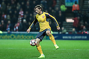 Arsenal defender Nacho Monreal (18) during the The FA Cup 3rd round match between Preston North End and Arsenal at Deepdale, Preston, England on 7 January 2017. Photo by Pete Burns.