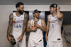 June 19, 2018 - Vitoria, Spain - Real Madrid Jeffery Taylor, Facundo Campazzo and Fabien Causeur celebrating the championship during Liga Endesa Finals match (4th game) between Kirolbet Baskonia and Real Madrid at Fernando Buesa Arena in Vitoria, Spain. June 19, 2018. (Credit Image: © Coolmedia/NurPhoto via ZUMA Press)