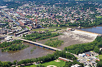 Aerial of Holyoke Dam, Industrial Canals and Skyline along Connecticur River, Holyoke, MA