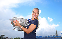 Dominika Cibulkova of Slovakia poses for photos after winning the Aegon International Eastbourne tennis tournament  - Mandatory by-line: Paul Terry/JMP - 25/06/2016 - TENNIS - Devonshire Park - Eastbourne, United Kingdom - Dominika Cibulkova v Karolina Pliskova - Aegon International Eastbourne