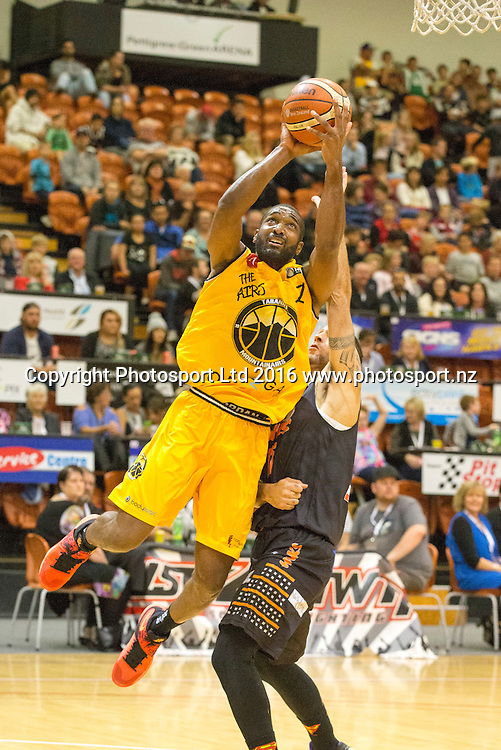 Taranaki's Marcus Johnson heads for the basket. Hawkes Bay Hawks v Taranaki Mountainairs, NBL basketball, PG Arena, Napier, New Zealand. Sunday, 13 March 2016. Copyright photo: John Cowpland / www.photosport.nz