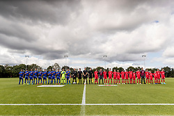 WREXHAM, WALES - Tuesday, August 13, 2019: The Cyprus and Wales teams line up for the national anthems before the UEFA Under-15's Development Tournament match between Wales and Cyprus at Colliers Park. (Pic by Paul Greenwood/Propaganda)