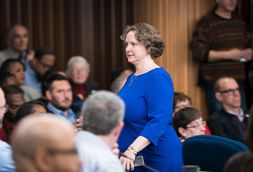 Madison Mayor Satya Rhodes-Conway enters the chambers before being sworn in at the City County Building in Madison, WI on Tuesday, April 16, 2019.