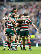 Leicester Tigers players Alesana Tuilagi  and Geordan Murphy celebrate at the final wistle . The Guinness Premiership final 2010 between Leicester Tigers and Saracens at Twickenham Stadium, London, England. May 29th, 2010. .