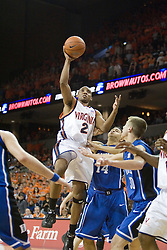 UVA's J.R. Reynolds (2) heads towards the basket against Duke.  The University of Virginia Cavaliers beat the #8 ranked Duke University Blue Devils 68-66 in overtime at the John Paul Jones Arena in Charlottesville, VA on February 1, 2007...