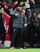 Liverpool manager Jurgen Klopp celebrates the Naby Keïta (8) of Liverpool goal to give a 0-2 lead during the Premier League match between Bournemouth and Liverpool at the Vitality Stadium, Bournemouth, England on 7 December 2019.