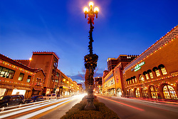 Country Club Plaza Lights in Kansas City, traffic motion blur on 47th Street.