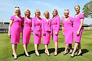 The elegant York Pink Lady Team ready to look after Sponsors and VIP's prior to the first day of the Dante Festival at York Racecourse, York, United Kingdom on 15 May 2019.
