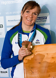 Slovenian bronze medalist cross-country skier Petra Majdic with Prix Terry Fox at arrival to Airport Joze Pucnik from Vancouver after Winter Olympic games 2010, on March 1, 2010 in Brnik, Slovenia. (Photo by Vid Ponikvar / Sportida)