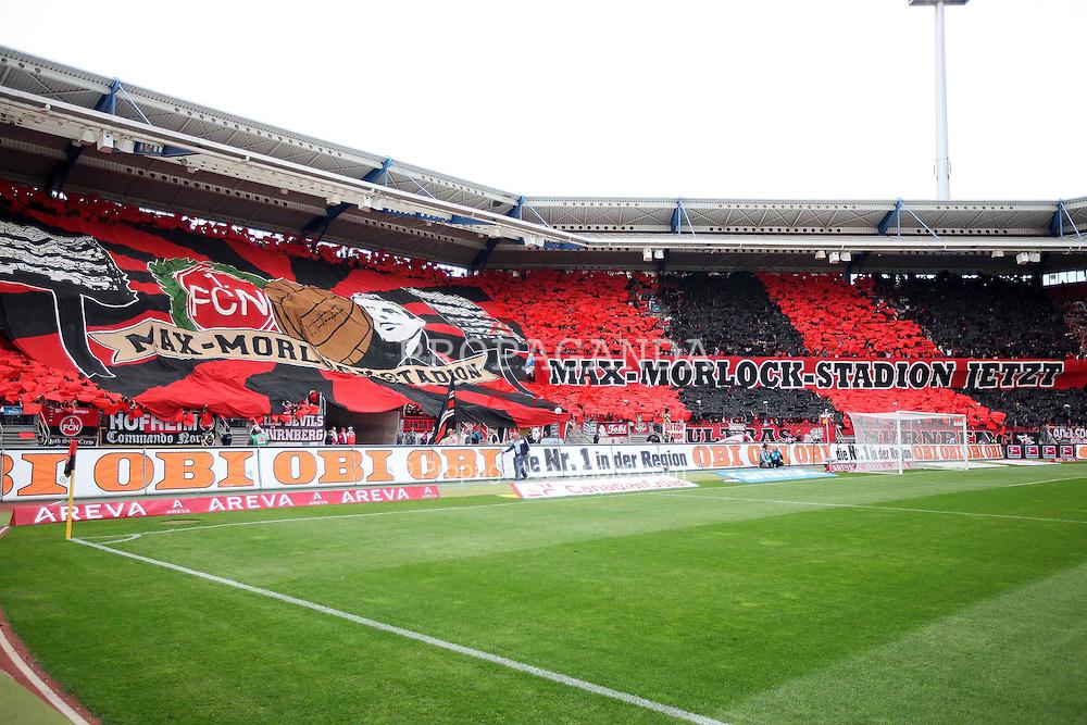 """13.08.2011, easy Credit Stadion, Nuernberg, GER, 1.FBL, 1. FC Nürnberg / Nuernberg vs , im Bild:.Fanchoreographie 1. FC Nürnberg / Nuernberg Spruchband / Forderung """"Ganz Nürnberg Forder MAX MORLOCK STADION jetzt"""" Aufruf damit easyCredit Stadion umbenannt wird..// during the Match GER, 1.FBL, 1. FC Nürnberg / Nuernberg vs  on 2011/08/13, easy Credit Stadion, Nuernberg, Germany..EXPA Pictures © 2011, PhotoCredit: EXPA/ nph/  Will       ****** out of GER / CRO  / BEL ******"""