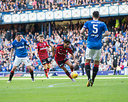 9th September 2017, Ibrox Park, Glasgow, Scotland; Scottish Premier League football, Rangers versus Dundee; Dundee's Faissal El Bakhtaoui scores his side's consolation goal for 4-1