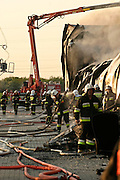 11.05.2006 Stara Iwiczna village, Poland. Fire in Brilux bulb factory. Firemen in action. Photo Piotr Gesicki