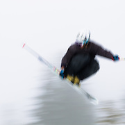 Doug Jambor catches air at the Sesh Up in the backcountry near Mount Baker