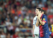 Lionel Messi reacts after missing a chance.  Barcelona v Real Madrid, Supercopa first leg, Camp Nou, Barcelona, 23rd August 2012...Credit - Eoin Mundow/Cleva Media.