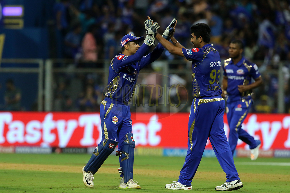 Mumbai Indians players celebrates the wicket of Harbhajan Singh of the Chennai Superkings during match one of the Vivo Indian Premier League 2018 (IPL 2018) between the Mumbai Indians and the Chennai Super Kings held at the Wankhede Stadium in Mumbai on the 7th April 2018.<br /> <br /> Photo by Vipin Pawar / IPL / SPORTZPICS