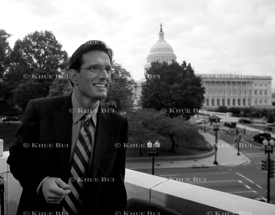 House Minority Whip Eric Cantor (R-VA) conducts media interviews in the Russell Rotunda November 3, 2010, in Washington, DC.  Sweeping victories by Republican House candidates leads to a change in party control of the US House...and Cantor is expected to become the next Majority Leader.  ****Image available in color and/or B&W****..Photo by Khue Bui