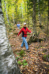 Hiking on the Cross-Rivendell Trail in West Fairlee, Vermont.  Bald Top Mountain.