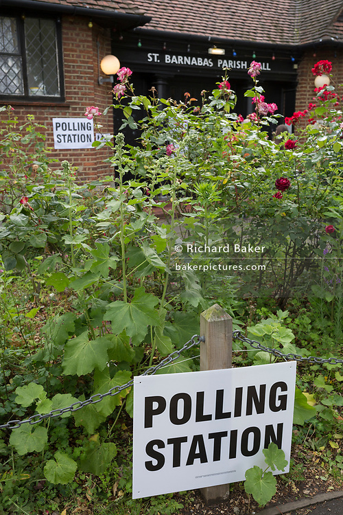 Green shrubs during the UK 2017 general elections outside the polling station at St. Barnabas Parish Hall in Dulwich Village  on 8th June 2017, in London, England.