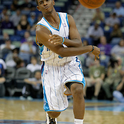 Oct 10, 2009; New Orleans, LA, USA;  New Orleans Hornets guard Chris Paul (3) passes the ball to guard Marcus Thornton (not pictured) during the second quarter against the Oklahoma City Thunder at the New Orleans Arena. Mandatory Credit: Derick E. Hingle-US PRESSWIRE