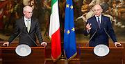 2013/05/31 Roma, conferenza stampa del premier e del Presidente del Consiglio Europeo. Nella foto Herman Van Rompuy, Enrico Letta.<br /> Rome, Prime Minister and President of European Council press conference. In the picture Herman Van Rompuy, Enrico Letta - &copy; PIERPAOLO SCAVUZZO
