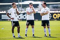 ROTTERDAM - Eerste training met Dirk Kuyt , voetbal , seizoen 2015/2016 , Sportcomplex Varkenoord , 02-07-2015 , Feyenoord trainer Giovanni van Bronckhorst (l) met assistenten Jan Wouters (l) en Jean-paul van Gastel