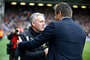Fulham First Team Head Coach Slavisa Jokanovic and Wolverhampton Wanderers head coach Paul Lambert shake hands before kick off during the EFL Sky Bet Championship match between Fulham and Wolverhampton Wanderers at Craven Cottage, London, England on 18 March 2017. Photo by Andy Walter.