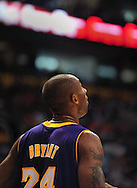 Oct. 29 2010; Phoenix, AZ, USA; Los Angeles Lakers shooting guard Kobe Bryant (24) reacts on the court against the Phoenix Suns during the first half at the US Airways Center. The Lakers defeated the Suns 114-106.  Mandatory Credit: Jennifer Stewart-US PRESSWIRE.
