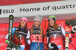01.01.2018, Holmenkollen, Oslo, NOR, FIS Weltcup Ski Alpin, City Event Oslo, Parallelslalom, Damen, Siegerehrung, im Bild v. l. Wendy Holdener (SUI, 2. Platz), Mikaela Shiffrin (USA, 1. Platz), Melanie Meillard (SUI, 3.Platz) // f.l. second placed Wendy Holdener of Switzerland, winner Mikaela Shiffrin of USA, third placed Melanie Meillard of Switzerland during the winner Ceremony for the ladie's Parallel Slalom of FIS Ski Alpine World Cup at the Holmenkollen in Oslo, Norway on 2018/01/01. EXPA Pictures &copy; 2018, PhotoCredit: EXPA/ Nisse Schmid<br /> <br /> *****ATTENTION - OUT of SWE*****