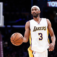 26 March 2016: Los Angeles Lakers forward Corey Brewer (3) brings the ball up court during the Portland Trail Blazers 97-81 victory over the Los Angeles Lakers, at the Staples Center, Los Angeles, California, USA.