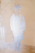 deteriorating studio portrait of a boy in school uniform Japan ca 1950s