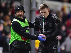 Dafydd Howells of Dragons is taken off with an injury.Guinness PRO14, Rodney Parade, Newport, UK 30/11/2019<br /> Dragons vs Zebre Rugby<br /> <br /> Mandatory Credit ©JMP/Alex James