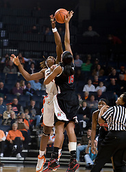 Virginia center Aisha Mohammed (33) and Maryland forward/center Laura Harper (15) go up for the opening tip.  The Virginia Cavaliers women's basketball team faced the #4 ranked Maryland Terrapins at the John Paul Jones Arena in Charlottesville, VA on January 18, 2008.
