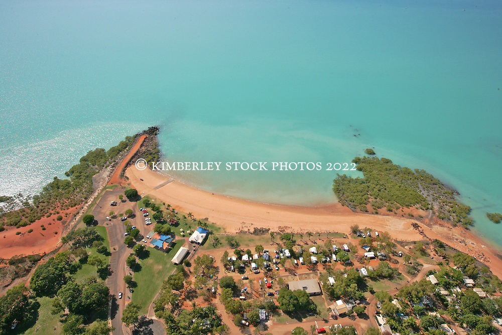 Pindan soil meets aqua water on the shores of Roebuck Bay at Town Beach in Broome
