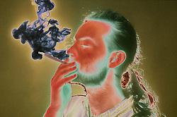 Man smoking cannabis,