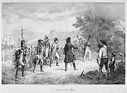 Napoleon leaving Elba after his exile, 1815. Engraving.