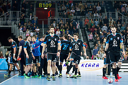 Players of PPD Zagreb during handball match between PPD Zagreb (CRO) and RK Celje Pivovarna Lasko (SLO) in 13th Round of Group Phase of EHF Champions League 2015/16, on February 27, 2016 in Arena Zagreb, Zagreb, Croatia. Photo by Urban Urbanc / Sportida