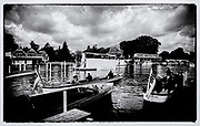 "Henley on Thames,  GREAT BRITAIN,  2007, Henley launch's  Left ""MAJESTIC"" and ""MAGICIAN"", in the mooring area,  ""Film Noir Style Photography"", © Peter SPURRIER,"