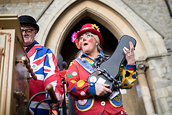 """© Licensed to London News Pictures. 04/02/2018. London, UK. Clowns attend the Grimaldi Church Service at Hackney at All Saints Church. The service commemorates the """"father"""" of the modern clown, Joseph Grimaldi. Photo credit : Tom Nicholson/LNP"""