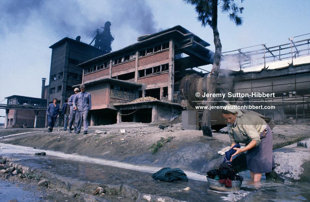 Factory belching smoke at Fushe-Kruje, Albania, 1994.