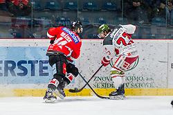 13.01.2019, Ice Rink, Znojmo, CZE, EBEL, HC Orli Znojmo vs HCB Suedtirol Alperia, 38. Runde, im Bild v.l. Petr Mrazek (HC Orli Znojmo) Stefano Marchetti (HCB Sudtirol Alperia) // during the Erste Bank Eishockey League 38th round match between HC Orli Znojmo and HCB Suedtirol Alperia at the Ice Rink in Znojmo, Czechia on 2019/01/13. EXPA Pictures © 2019, PhotoCredit: EXPA/ Rostislav Pfeffer