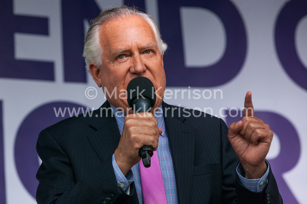 London, UK. 4 September, 2019. Baron Hain addresses Remain supporters at a Defend Our Democracy rally in Parliament Square shortly after MPs passed the Brexit delay bill in the House of Commons.