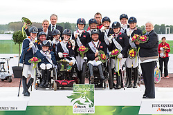 Podium Team Test 1. GBR, 2. NED, 3. GER - Alltech FEI World Equestrian Games™ 2014 - Normandy, France.<br /> © Hippo Foto Team - Jon Stroud <br /> 25/06/14