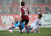 FUSSBALL   1. BUNDESLIGA  SAISON 2012/2013   8. Spieltag 1. FC Nuernberg - FC Augsburg       21.10.2012 Torwart Mohamed Amsif (li, FC Augsburg) gegen Hiroshi Kiyotake (1 FC Nuernberg) gegen Paul Verhaegh (FC Augsburg)