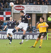 Dundee's Stephen O'Donnell wins a header as Livingston's Liam Fox watches - Dundee v Livingston, IRN BRU Scottish Football League, First Division at Dens Park - ..© David Young - .5 Foundry Place - .Monifieth - .Angus - .DD5 4BB - .Tel: 07765 252616 - .email: davidyoungphoto@gmail.com.web: www.davidyoungphoto.co.uk