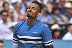 June 23, 2018 - London, England, United Kingdom - Nick Kyrgios of Australia reacts during the semi final singles match on day six of Fever Tree Championships at Queen's Club, London on June 23, 2018. (Credit Image: © Alberto Pezzali/NurPhoto via ZUMA Press)