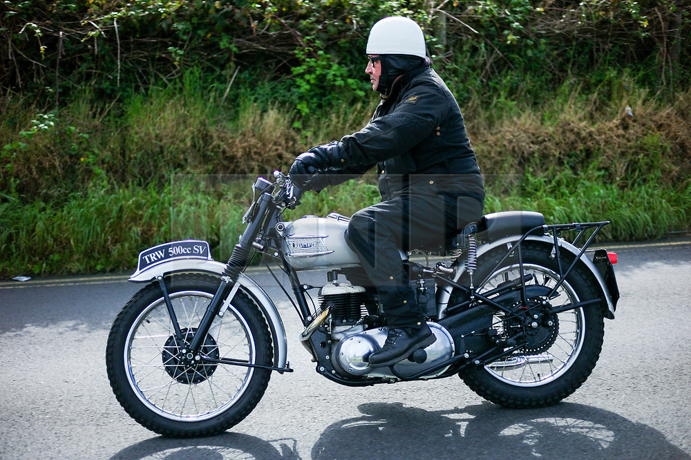 © Licensed to London News Pictures. <br /> 10/09/2017 <br /> Saltburn by the Sea, UK.  <br /> <br /> An entrant rides his Triumph motorcycle during the annual Saltburn by the Sea Historic Gathering and Hill Climb event. Organised by Middlesbrough and District Motor Club the event brings together owners of a wide range of classic cars and motorcycles dating from the early 1900's to 1975. Participants take part in a hill climb to test their machines up a steep hill near the town. Once held as a competitive gathering a change in road regulations forced the hill climb to become a non-competitive event.<br /> <br /> Photo credit: Ian Forsyth/LNP